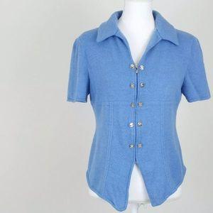 St. John | Blue Short Sleeve Front Zip Cardigan